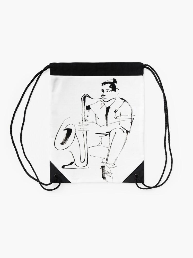 Alternate view of Saxophone Player Musician Drawstring Bag