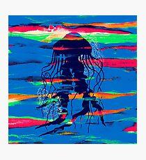 Blue Jellyfish Paintbrush Photographic Print
