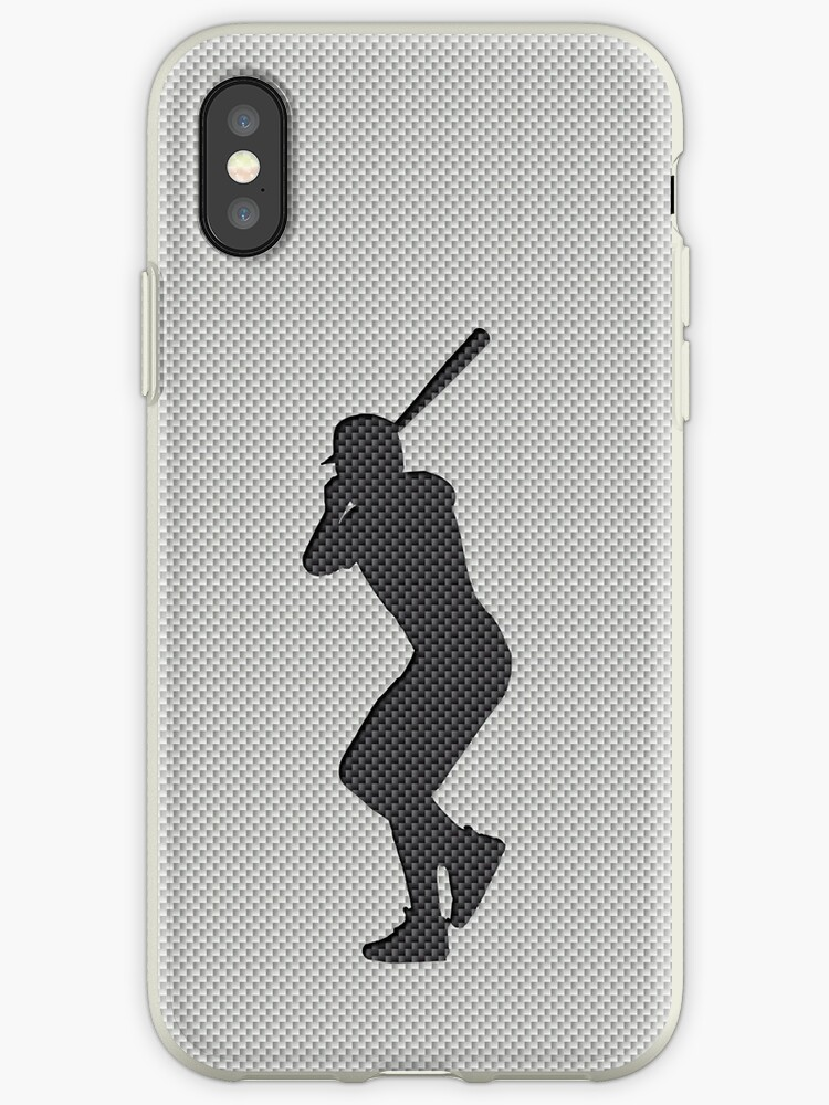 new product b963a 5eb10 'Simulated Black and White Etched Carbon Fiber Baseball Player' iPhone Case  by podartist