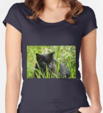 black cat hunting Women's Fitted Scoop T-Shirt
