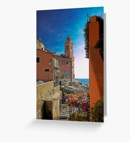 The Marina with the Church of San Giorgio - Tellaro Greeting Card