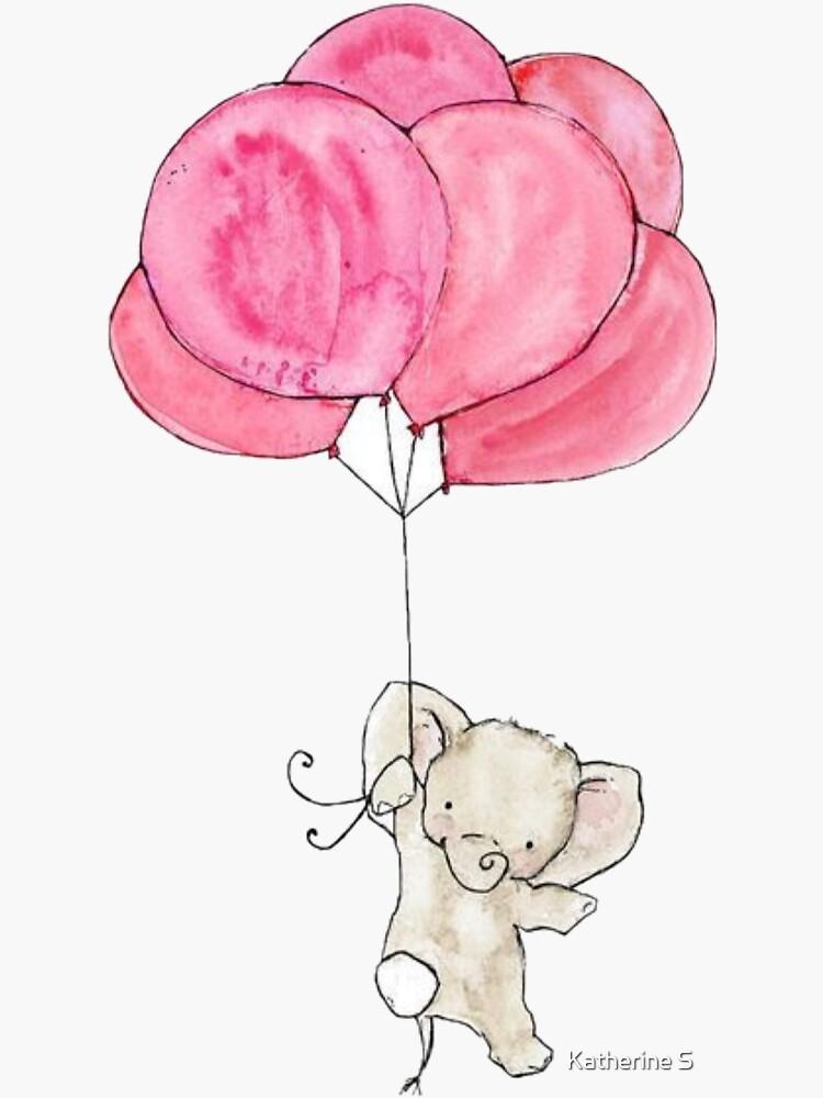 Baby Elephant Holding Pink Balloons by katherineshek