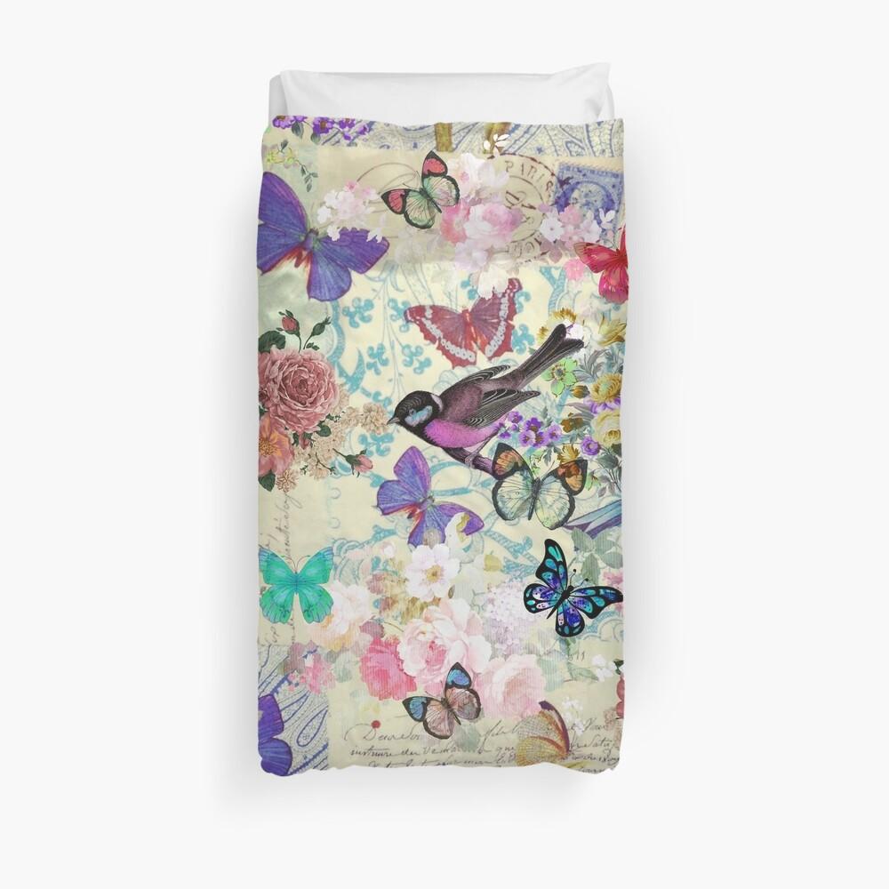 Colorful bird butterflies vintage floral pattern Duvet Cover