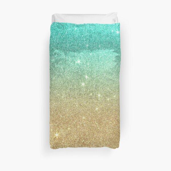 Aqua teal abstract gold ombre glitter Duvet Cover