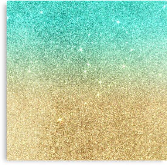 Quot Aqua Teal Abstract Gold Ombre Glitter Quot Canvas Print By