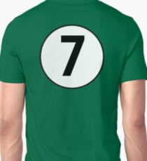 LUCKY, 7, Old School, Racing 7, SEVEN, Seventh, Number Seven, Number 7, Seven, Competition, BRITISH RACING GREEN T-Shirt