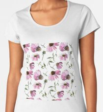 Floral seamless pattern of echinacea flowers Women's Premium T-Shirt