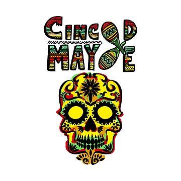 Colorful Mexican Sugar Skull Cinco De Mayo by Eventures1