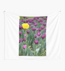 yellow and purple tulip flowers springtime Wall Tapestry