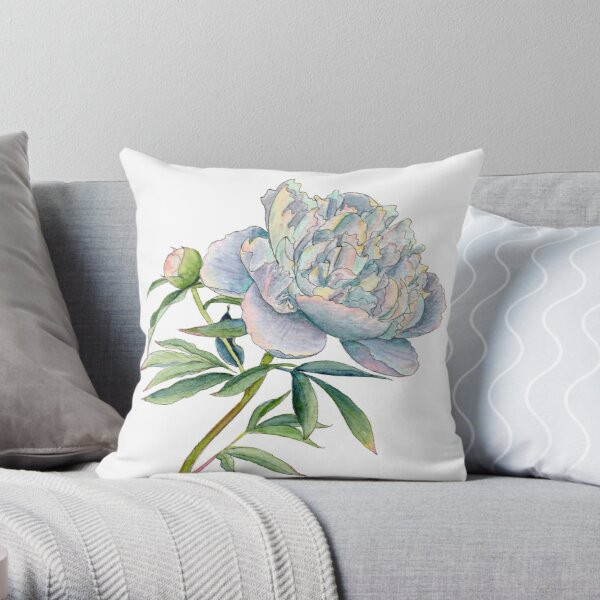 Peony in watercolor and ink by farrahdelle Throw Pillow
