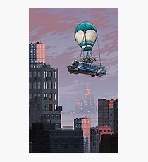 Fortnite bus flying in city Photographic Print