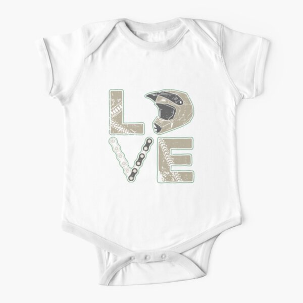 Dirt Bike Love - Biker Bike Helmet Motocross Short Sleeve Baby One-Piece
