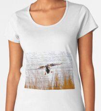 Mallard landing in wind Women's Premium T-Shirt