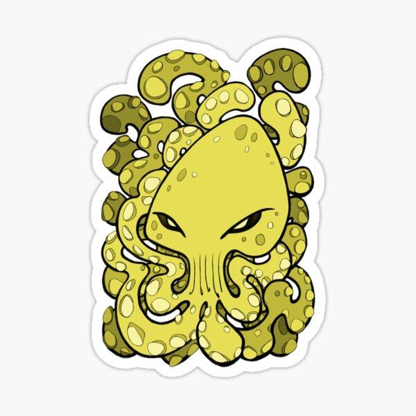 Evil Octopus Squid Kraken Cthulhu Sea Creature - Meadow Lark Yellow Sticker