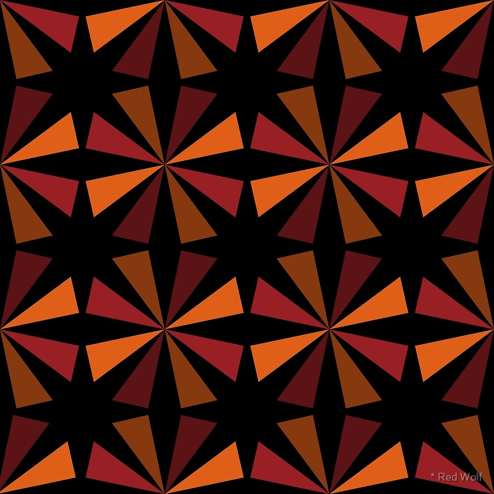 Geometric Pattern: Star: Orange/Red by * Red Wolf
