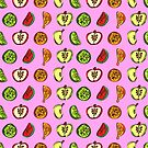 Fruit Abstract Pattern Oranges, Apples and Limes in Pink by Shelly Still