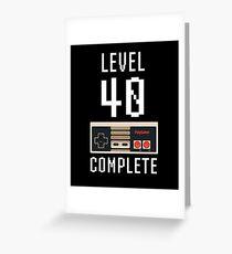 Level 40 vervollständigen 40. Geburtstagsgeschenk Pixel Retro Video Game T-Shirt Grußkarte