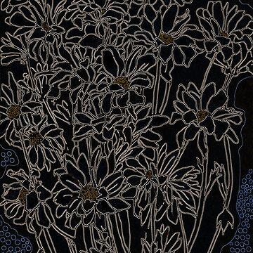 Daisy Chrysanthemum, black by clipsocallipso