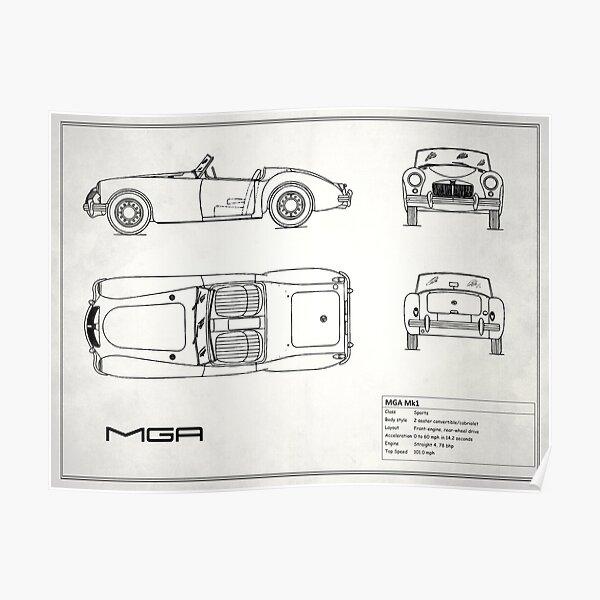 MGA Sports Car Blueprint Poster