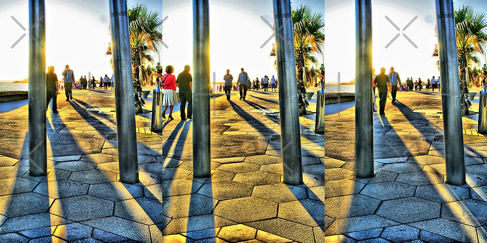 St. Kilda Foreshore HDR Triptych by JHP Unique and Beautiful Images