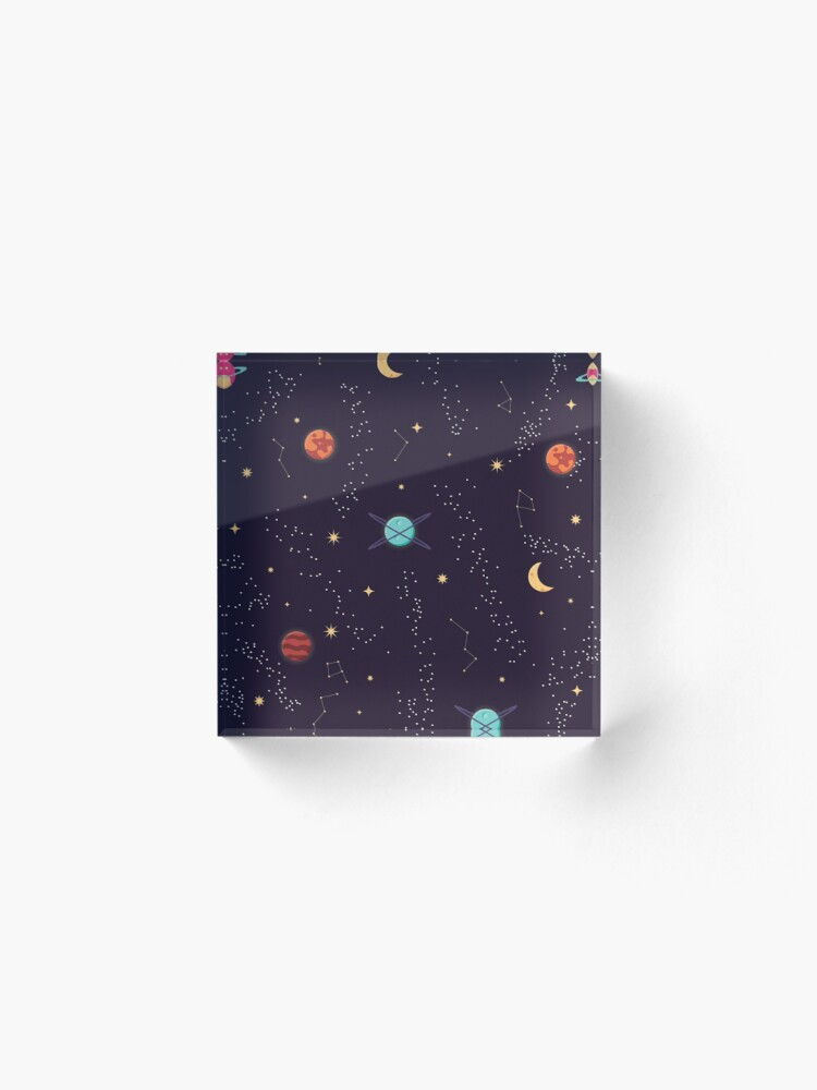 Alternate view of Universe with planets and stars seamless pattern, cosmos starry night sky, vector illustration Acrylic Block