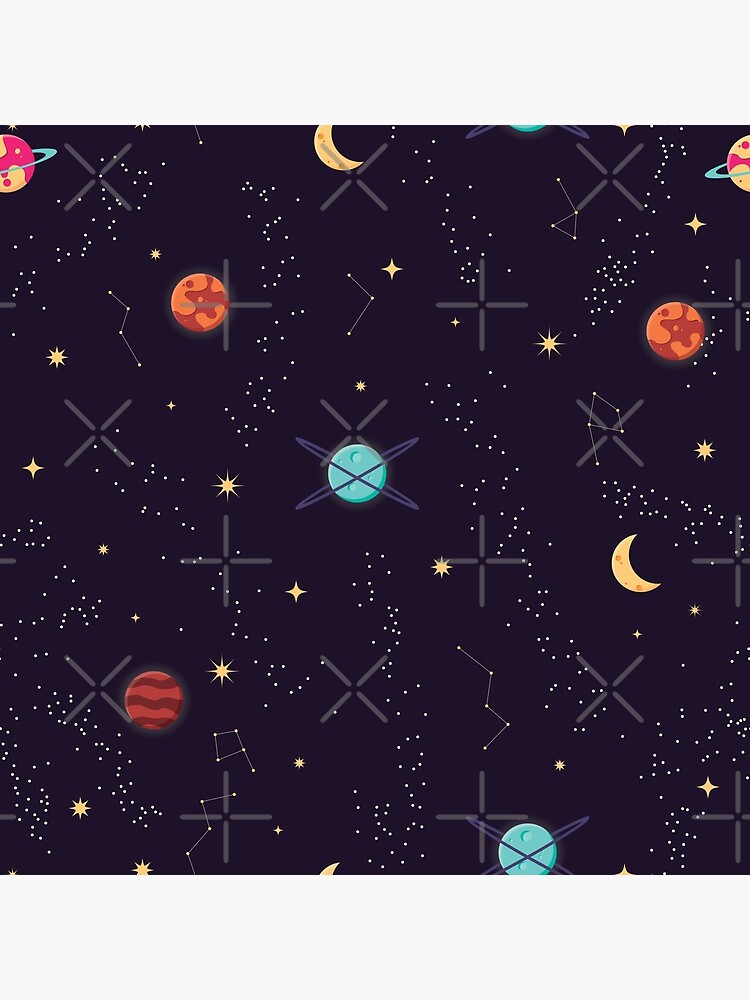 Universe with planets and stars seamless pattern, cosmos starry night sky, vector illustration by BlueLela