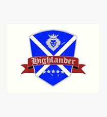 Highlander Scottish flag vintage Art Print