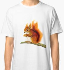 Red Squirrel Animal Watercolor Painting Wildlife Artwork Classic T-Shirt