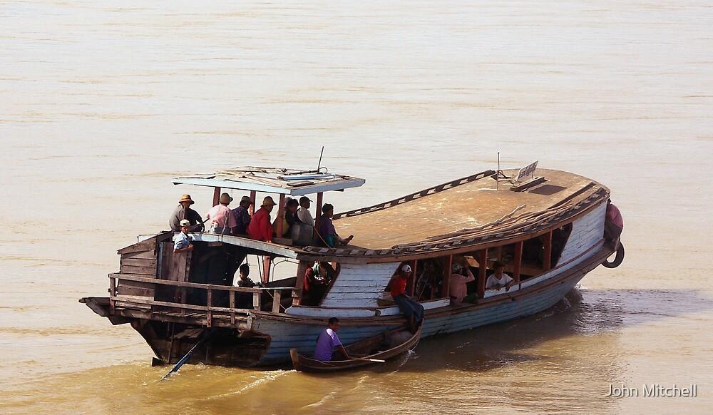 Burmese boat, Upper Irrawaddy River by John Mitchell