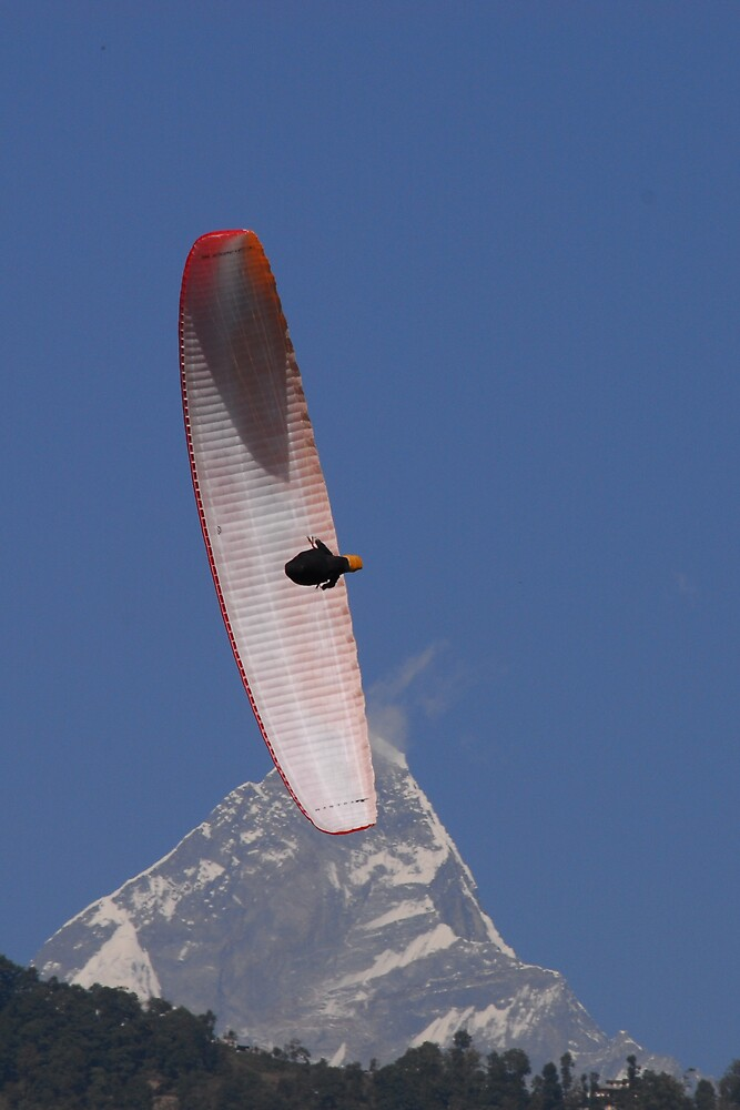 Hang gliding, Nepal ~ Machapuchare in background. by Richard  Stanley