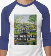 Looking down Audlem locks from lock No. 8 Baseball ¾ Sleeve T-Shirt