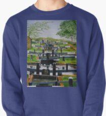 Looking down Audlem locks from lock No. 8 Pullover Sweatshirt