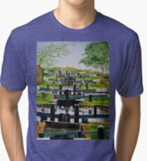 Looking down Audlem locks from lock No. 8 Tri-blend T-Shirt