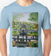 Looking down Audlem locks from lock No. 8 Slim Fit T-Shirt