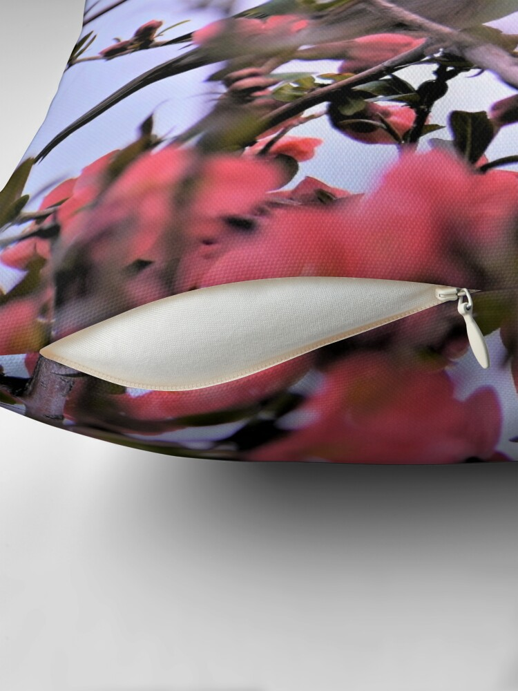 Alternate view of Hiding Among Quince Blossoms Throw Pillow
