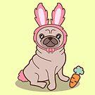 «Perro Pug en un disfraz de conejo» de EuGeniaArt