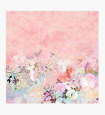 Lámina fotográfica Pastel blush acuarela ombre acuarela floral