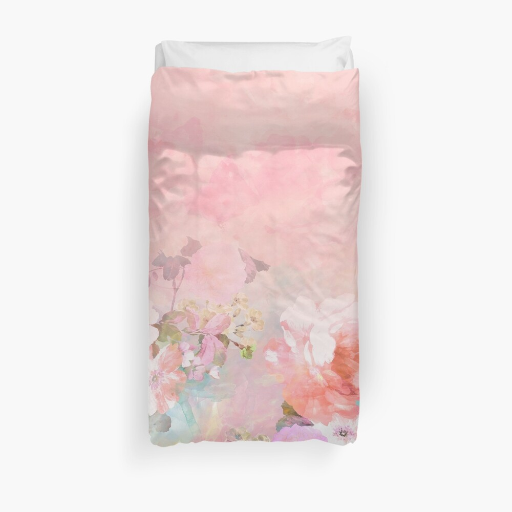 Pastel blush watercolor ombre floral watercolor Duvet Cover