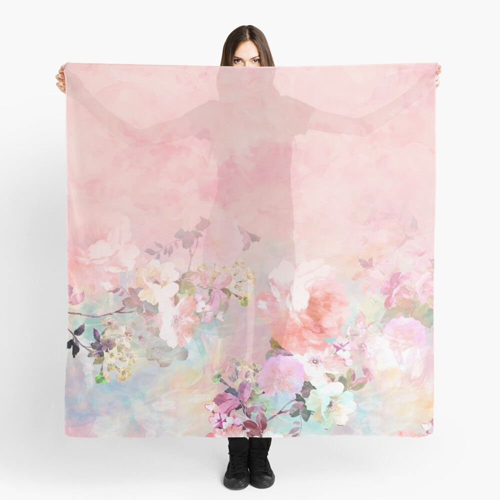 Pastel blush watercolor ombre floral watercolor Scarf