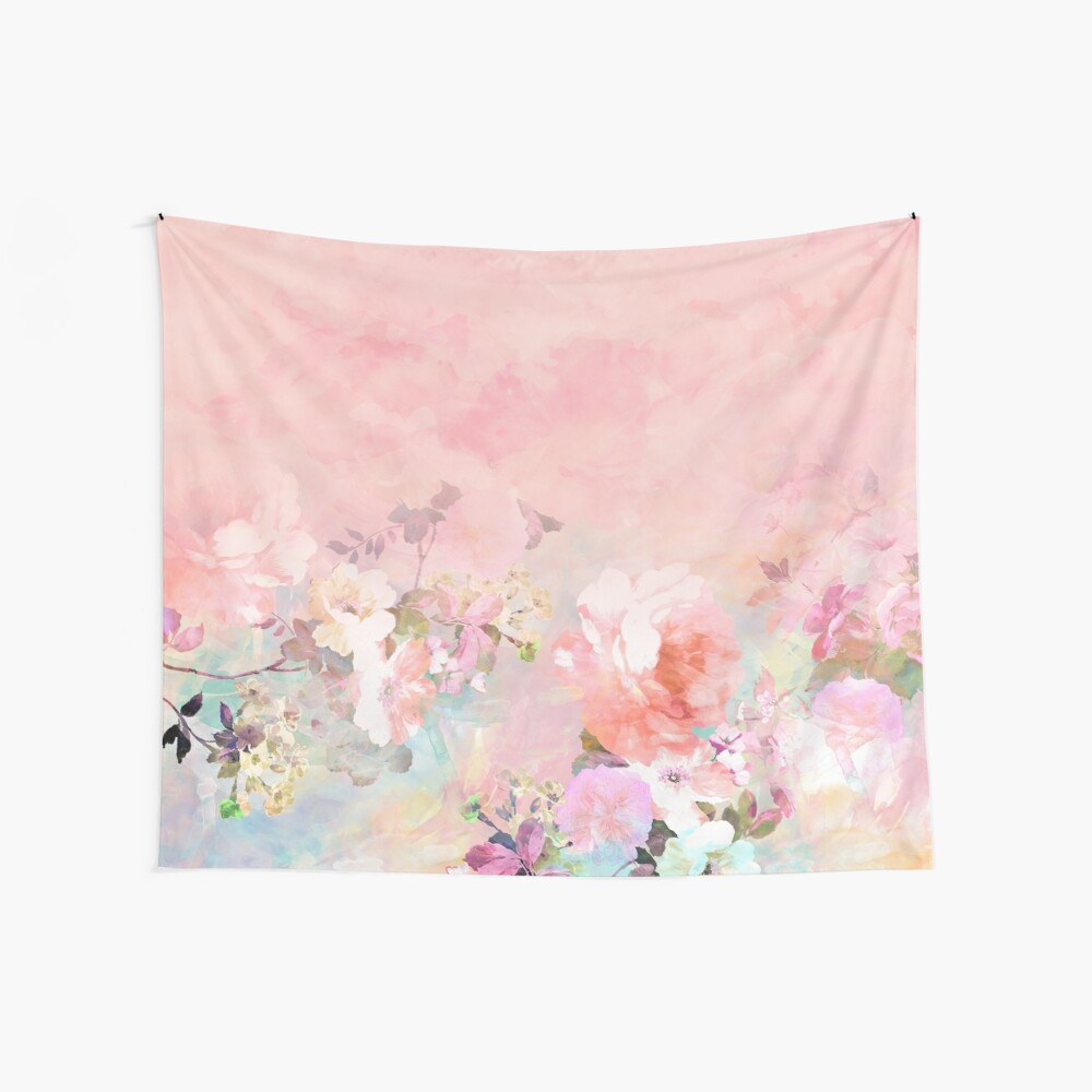 Pastel blush watercolor ombre floral watercolor Wall Tapestry