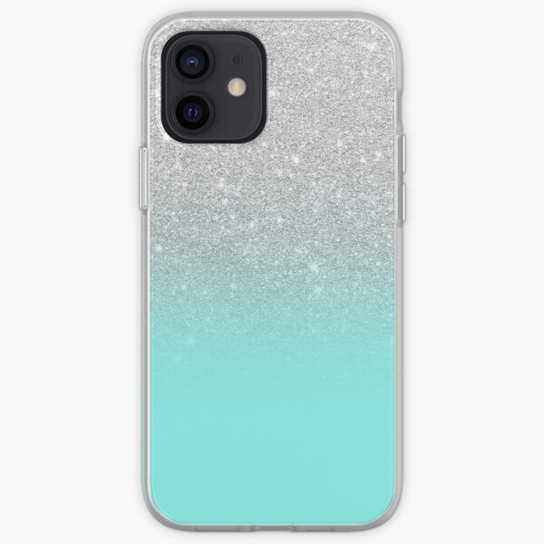 Modern silver glitter ombre teal ocean iPhone Soft Case