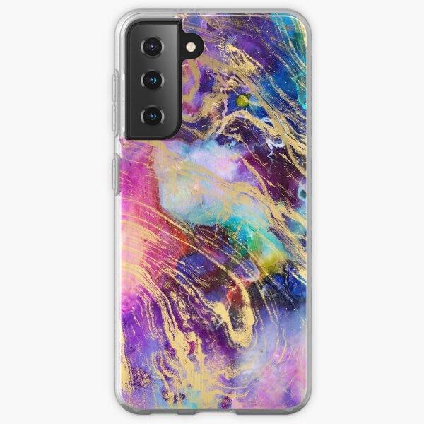 Modern gold marble on pastel watercolor nebula Samsung Galaxy Soft Case