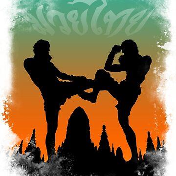 Muay Thai Beautiful Sunset Temple Fighting by lu2k