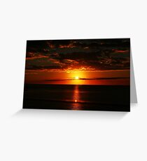 Red sunset on the ocean Greeting Card