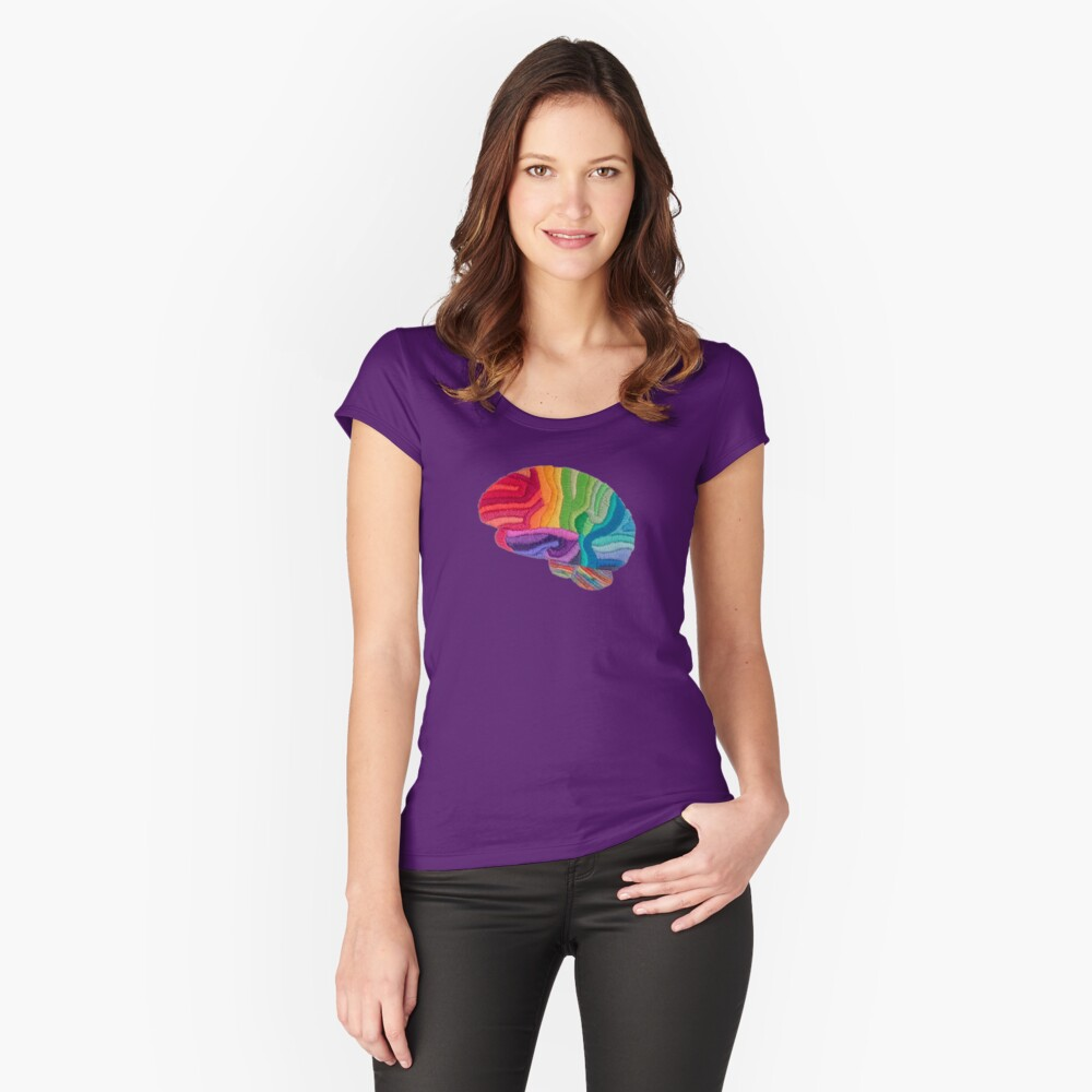 Embroidered Look - Rainbow Brain  Fitted Scoop T-Shirt
