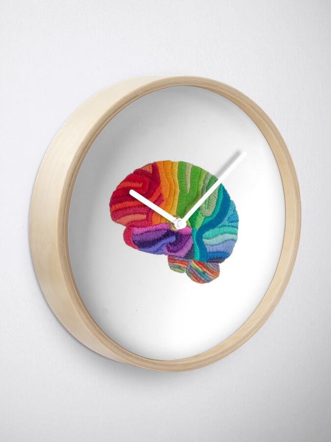 Alternate view of Embroidered Look - Rainbow Brain  Clock