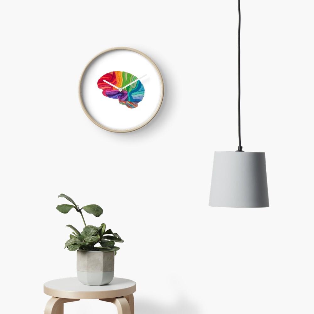 Embroidered Look - Rainbow Brain  Clock