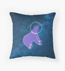 Cute bear floating in the galaxy Throw Pillow