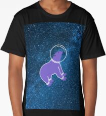 Cute bear floating in the galaxy Long T-Shirt
