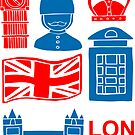 London England United Kingdom Icons Flag Travel  by Maricrism